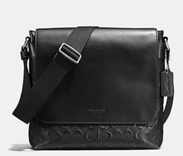 Coach Signature Embossed Charles Black Messenger Crossgrain Leather F72220  BNWT e13c223652