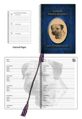 Tel Book with Dates section choice 3 colours Gift Border Terrier Dog A5 Address