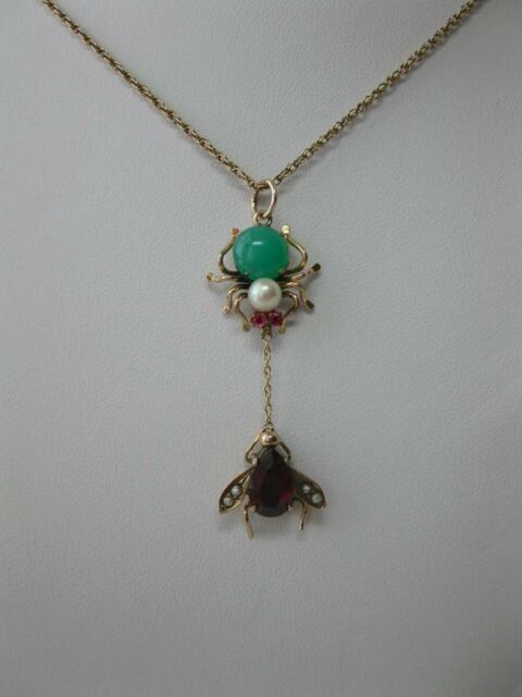 Jade Ruby Spider Fly Pendant Necklace Victorian Gold Insect Edwardian Art Deco