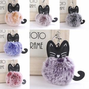 Cartoon-Cat-Fluffy-Ball-Key-Chain-Pompom-Animal-Tail-Rabbit-Fur-Car-Bag-Keyring