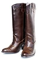 Wild Diva Brown Western Cowboy Heel Womens Long Boots Shoes (retail $128)
