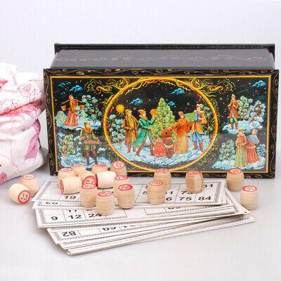 Bingo in a Lacquer Box with Russian Winter Fairytales Scene Lotto Family Game