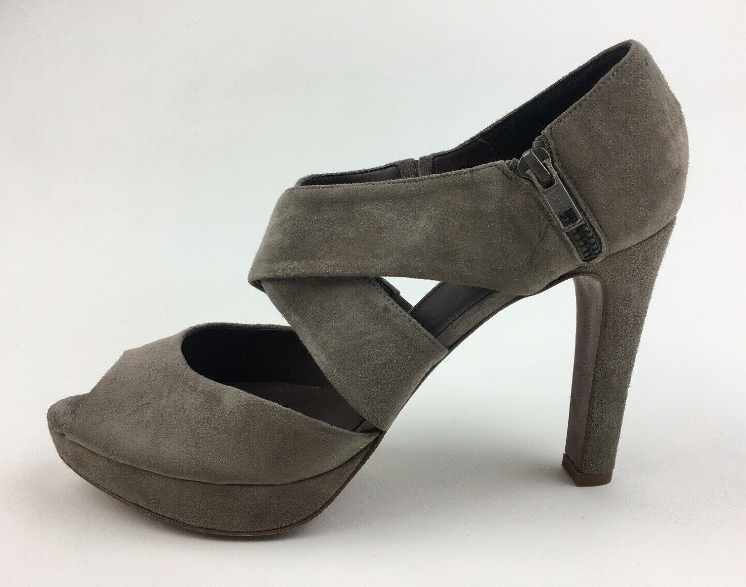 J. Crew Lindy guard  toe Cross Strap Heels side zip Sz 11, Stone Suede 2200  bellissimo