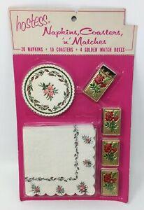 Vintage-Hostess-Barware-20-Napkins-10-Coasters-4-Matches-USA-Red-Roses-NOS-New