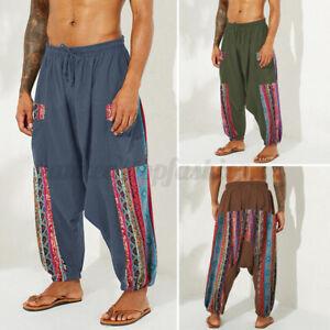 Mens-Linen-Floral-Harem-Baggy-Pants-Casual-Beach-Drawstring-Hippy-Yoga-Trousers