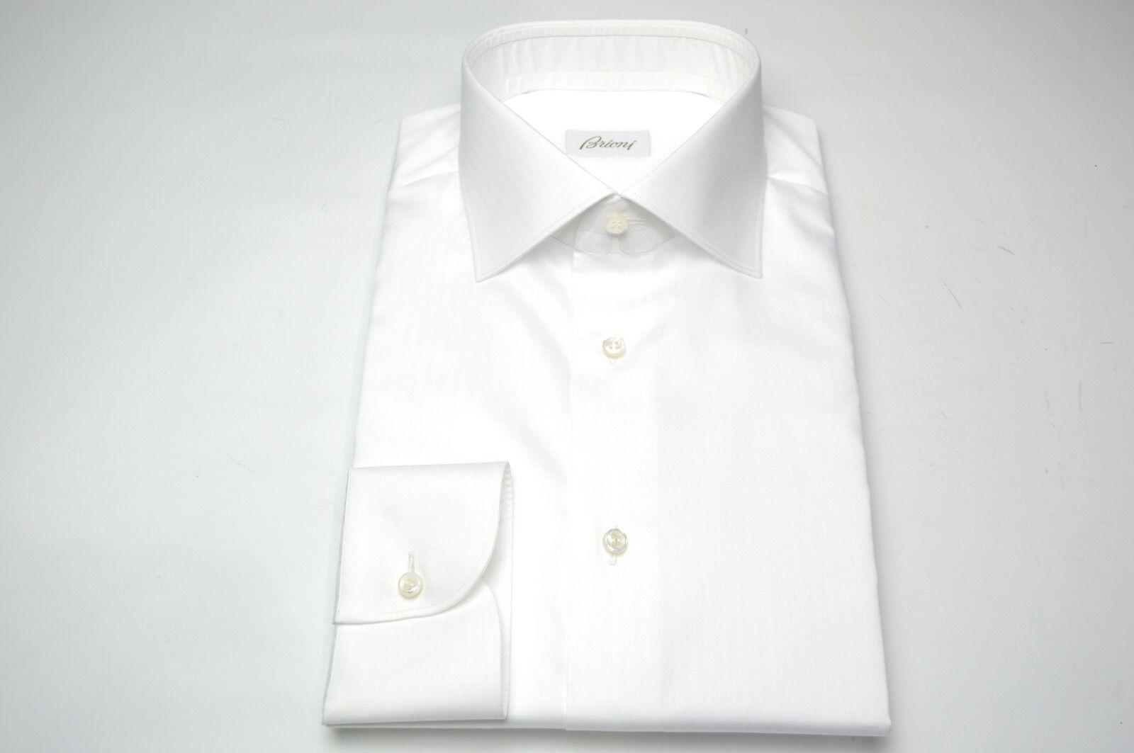 NEW BRIONI Weiß Dress hemd 100% baumwolle Größe 17 Us 43 Eu  (SE50)