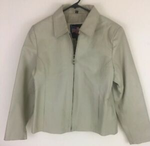 USA-Genuine-Leather-Beige-Women-039-s-Jacket-Size-Large