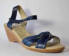 Caprice Damenschuh Sandale mit Keilabsatz blau Leder Gr. 40 (PE 1712+1711/S)