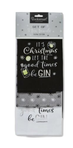 Let the Good Times être Gin Noël Torchons Lot de trois