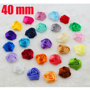 DIY-10PCS-Satin-Ribbon-Rose-Flower-40-00mm-Craft-Wedding-embellishment-Applique