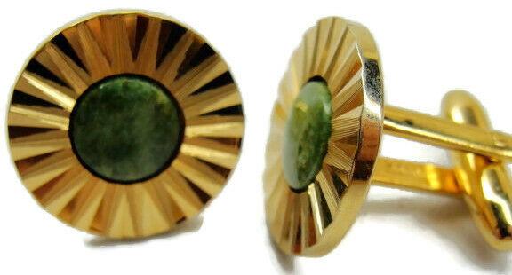 Hickok Canada Vintage Cufflinks Round Sunburst Nephrite Jade Green Stone