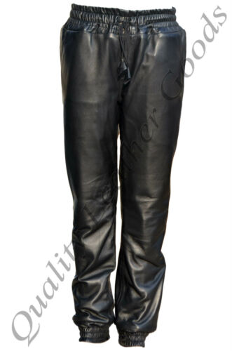 MEN SYNTHETIC SHEEP LEATHER JOGGER URBAN TWILL PANTS W//DRAWSTRING BREECHES