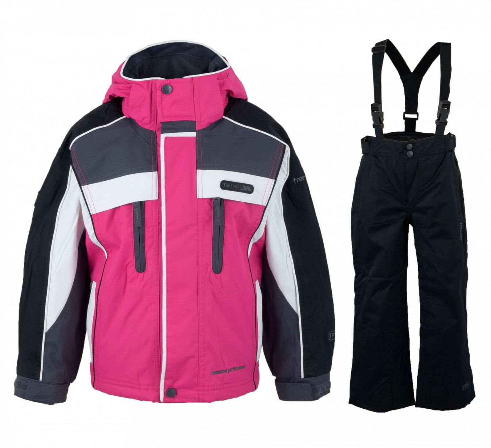 Trespass Sumaco Kids Ski Suit Padded Waterproof Boys  Girls All In One Set  outlet