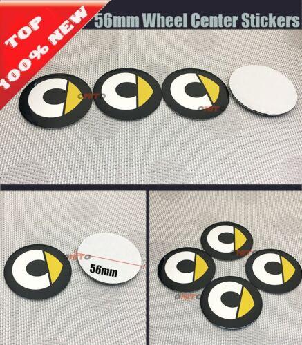 4 Tappi Coprimozzo adesivi colore giallo o rosso Smart Fortwo Forfour  56 mm