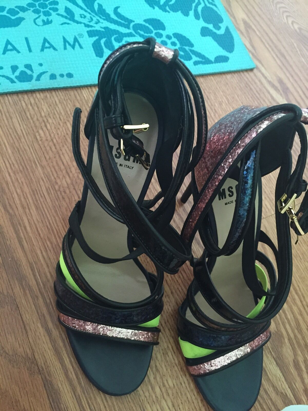 MulticolouROT Leder strappy glitter strappy Leder Sandales from MSGM. a90f21