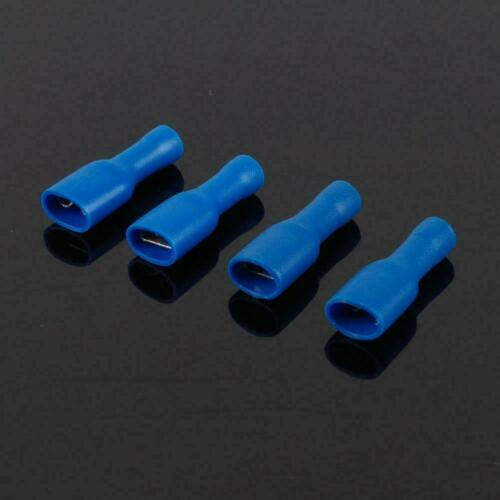 100x Fully Insulated Blue Female Electrical Spade Crimp Connector Terminals G1N9