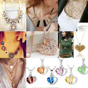 Lot-Charm-Bib-Statement-Chunky-Choker-Chain-Crystal-Pendant-Necklace-Jewelry-HT