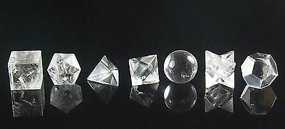 Crystal Quartz Sacred Geometry 7-Piece Set. With wooden box!