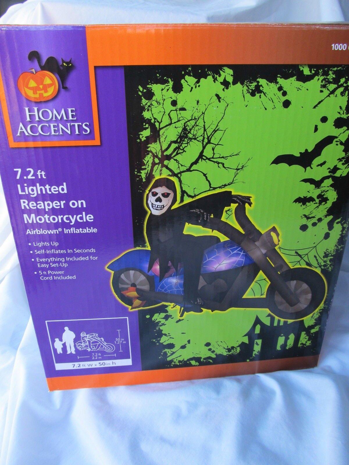 Neuf 2.1m éclairage Faucheuse sur Moto Halloween Gonflé Gonflable Yards