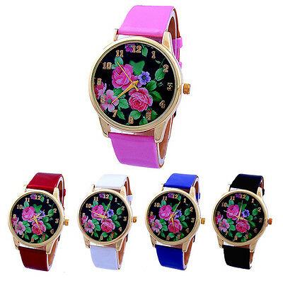 Women Chic Fany Rose Flower Dial Faux Leather Strap Quartz Analog Wrist Watch