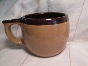 Vintage USA Pottery Brown Tan Crock Stoneware Mug Coffee/Tea Cup Heavy 30's 40's