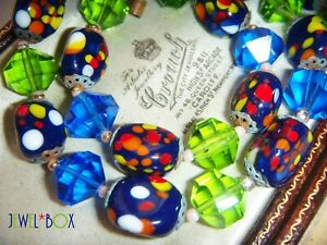 VINTAGE-ART-DECO-MURANO-Sapphire-amp-Peridot-Crystal-End-of-Day-Bead-NECKLACE-GIFT