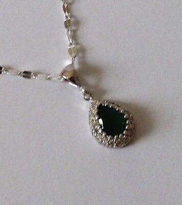 925 Sterling Silver Teardrop Green Emerald Pendant