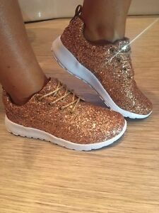 f0faf5eb372e Image is loading ROSE-GOLD-GLITTERBOMB-SPARKLY-GLITTER-TRAINERS -PUMPS-CASUAL-