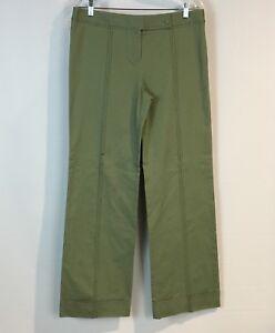 Anthropologie-Elevenses-Green-w-Bold-Black-Stitching-Wide-Leg-Trouser-Pant-Sz-10