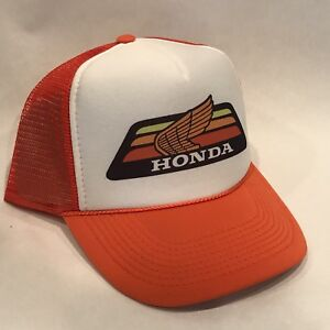 Honda Motorcycle Trucker Hat Race Vintage 80s Mesh Snapback Orange Gold Wing ATC