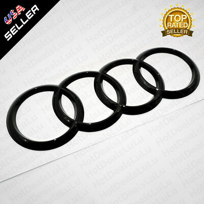 AUDI Gloss Black Front Grille Rings Badge Logo Emblem Decoration Modified 605-C