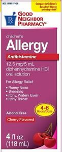 GNP Childrens Allergy Antihistamine 12.5mg diphenhydramine HCI, Cherry 4 oz