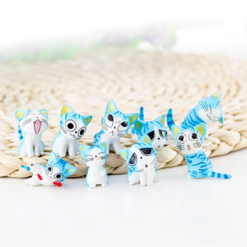 9pcs//set Mini Cute Cheese Cat Toys Anime Action Figure Collection Decor Doll