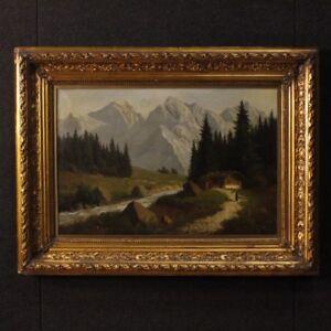 Dipinto-antico-francese-quadro-firmato-olio-su-tela-paesaggio-cornice-800-XIX