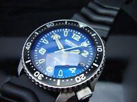 Vintage Seiko 7002 XX MEGA MOD BLUE BULLET BB BLUE SAPPHIRE CRYSTAL 150m H17