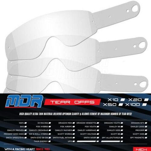 100 X MDR Tear OffS for Rip N Roll Motocross - Goggles RNR Tear Offs MX Goggles