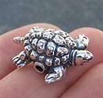 25mm Argent Sterling Mignon Tortue bead