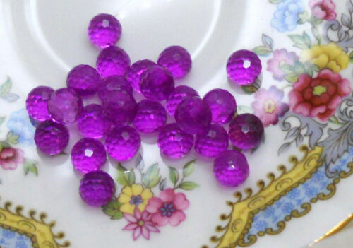 #672 Vintage Round Balls 8mm Eyes Fuschia No Hole Faceted Solid NOS Purple