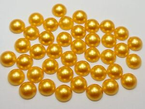 200 Metallic Gold Flatback Round Half Pearl 8mm Scrapbook Nail Art Craft