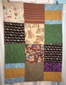 Handmade-Quilt-Children-s-Lap-Patchwork-Throw-Calico-Animal-Vintage-Picnic-Camp