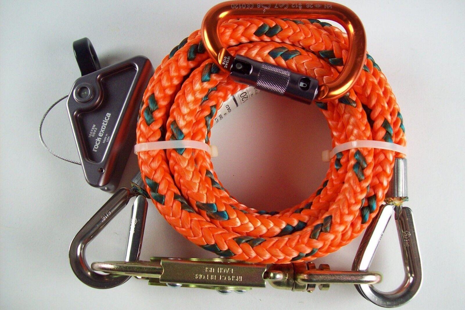 Tree Climber Flipline Kit,5 8  x 10' Maxi-FlipSteel Core,Adjuster,& Carabiner