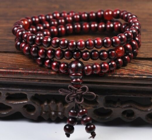 Sandalwood Buddhist Buddha Meditation 6mm 108 Prayer Bead Mala Bracelet/Necklace