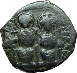 JUSTIN-II-amp-SOPHIA-565AD-Constantinople-Follis-Ancient-Byzantine-Coin-i66074