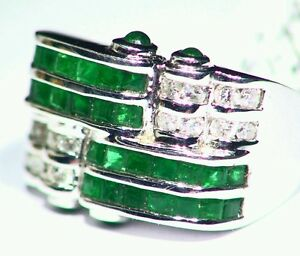 2-35CT-14K-Gold-Natural-Emerald-Cut-White-Diamond-Vintage-Engagement-Band-Ring