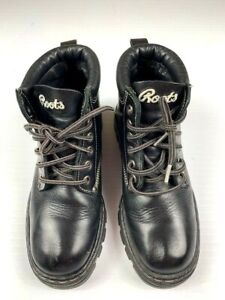 ROOTS-TUFF-Leather-Ankle-Boots-Mens-Size-US-7-5-Black