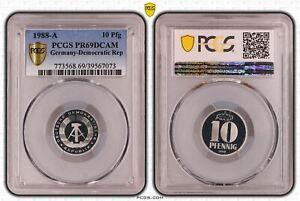 DDR 10 Pfennig 1988 A Polierte Platte PCGS PR69DCAM 53233
