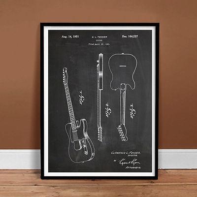 Unframed Colourised Fender Telecaster Guitar 1951 Patent Print Poster Art