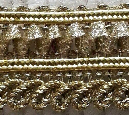 SOLD PER METRE RIBBON GOLD GLITTER TRIM 2CM/'S WIDE