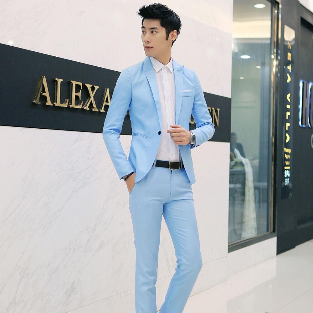 M-3XL Men One Button Suits Slim Fit Wedding Party Blazer Suitsupply ...
