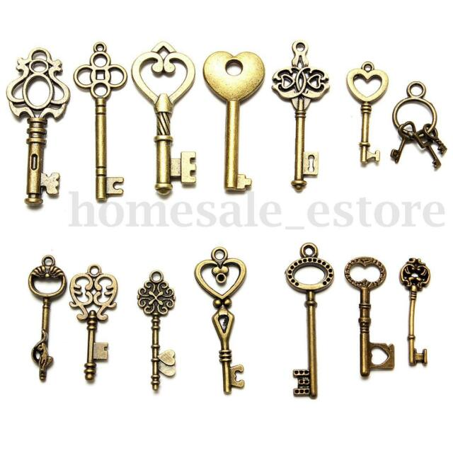 15pcs Mixed Random Antique Alloy Vintage Old Look Key Lot Crown Bow Charm